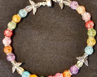 """7 color quartz & angel 8"""" bracelet"""