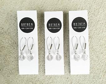 Women's Earrings, Glass Bead Earrings, Crystal Earrings, Special Occasion Earrings, Silver Earrings, Wedding Earrings, Rhinestone Earrings