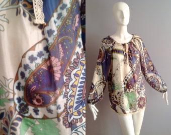 Vintage Boho Hippie Psychedelic SILK Tunic ~ Cream Lace Trim Peasant Blouse ~ Sheer Ethnic Flower Power Shirt ~ Modern Bohemian
