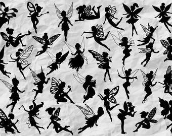 33 Fairy Silhouettes | Fairy SVG cut files | fairies printable | Faires cliparts | Fairy Vector files | fairy VinylDesign | wall print