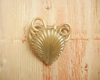 1940's Novelty Seashell Brooch Embellished with Rhinestones