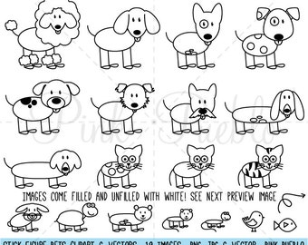 Stick Figure Pets Clipart Clip Art Vectors, Stick Family Animals Clip Art Clipart Vectors - Commercial and Personal Use