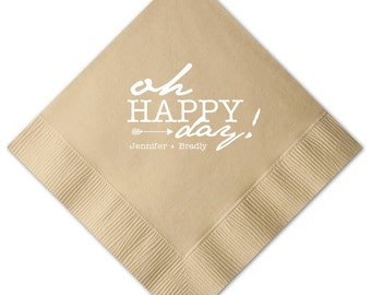 Oh Happy Day! Personalized Napkins - Set of 100 - Custom Printed Napkins, Foil Stamped Napkins, Party Favors