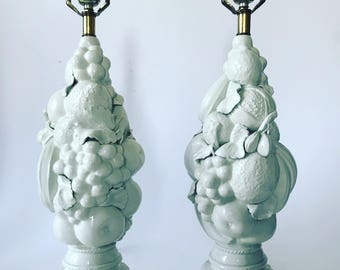 Mid Century Modern Italian Blanc de Chine White Fruit Topiary Lamps A Pair