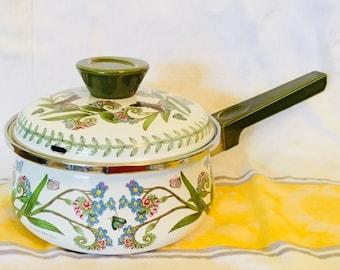 Portmeirion Botanic Garden Saucepan, Botanic Garden Enamel Pan, Portmeirion Enamelware, Vintage 1 Quart Sauce Pan