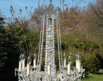 A very rare and unusual Vintage French 10 arm Maria Theresa chandelier with drops(34)