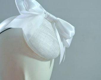 White Bow Cocktail Hat Mini Hat Millinery Fascinator