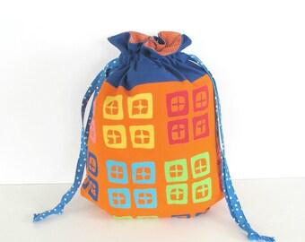 Crochet Bag, Knitting Bag, Drawstring Knitting Project Bag, MediumTote Bag Geometric Blue Orange Yarn Bag