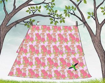 summer fresh sheets - signed digital illustration art print 8X10 inch by Sarah Knight, laundry clothesline pink floral humingbirds aqua blue