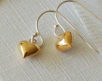 Tiny Gold Heart Drop Earrings (ERO27 - box) ~ Wedding, Anniversary, Bridesmaid, Birthday Earrings