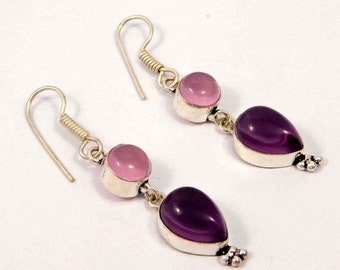 Amethyst & Pink Chalcedony Silver Plated Earrings  Jewelry