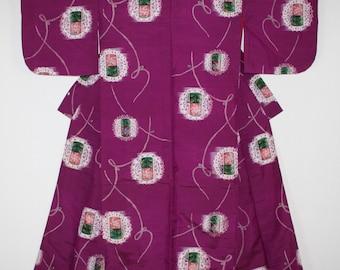 Japanese vintage silk meisen kimono of Charming flower pattern