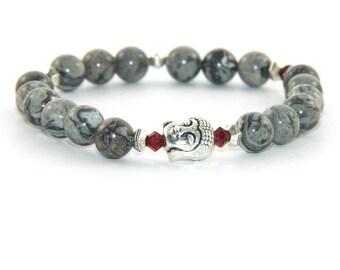 Buddha Bracelet, Agate & Swarovski® Crystal Stretch Yoga Jewelry