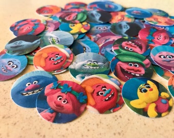 Trolls Confetti - Trolls Party - 100 Pieces 1 Inch Round - Birthday Confetti -  Cupcake Toppers