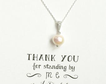3 Pearl Necklaces Silver, Single Pearl Necklace in Silver, Pearl Bridesmaid Necklace, Bridesmaid Jewelry Gift, Bridal Party Gifts - NK3