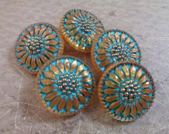 1 Turquoise Gold Flower Button 18mm Round Czech Glass Button Turquoise Gold Wash Flower Glass Button Turquoise Glass Button Metal #T1108