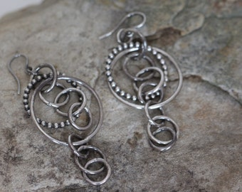 sterling silver multi hoops earrings. chunky earrings. textured. oxidized. silver925.Goth. Medieval.