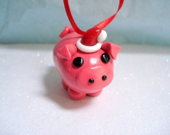Christmas Pig Ornament Polymer Clay Christmas Ornaments Piggy with Santa Hat Cute Christmas Ornament Pig Christmas Ornament