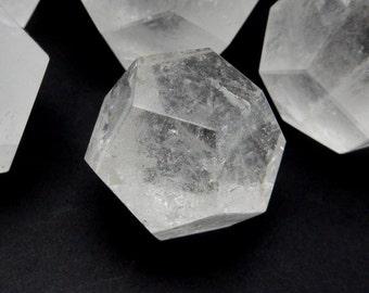 Crystal Quartz Dodecahedron -- Crystal Quartz Stone - Reiki - Metaphysical - Crafting - Crystal Grids  (RK138B2)