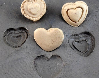 set of three  bisque heart stamps for stamping on stoneware clay, polymer clay, metal clay, crafts, and fondart foods ( 0030)