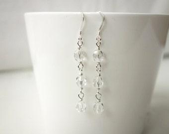 Sparkly earrings faceted glass beads minimalist earrings party earrings women
