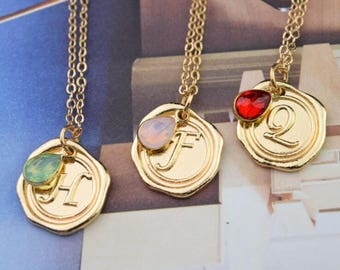 personalized wax seal initial crystal teardrop droplet necklace gold monogram drop necklace bridesmaid necklace