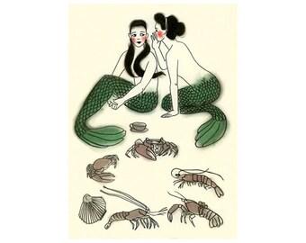 Mermaid wall art - Mermaid secrets - 4 X 6 Print - 4 for 3 SALE