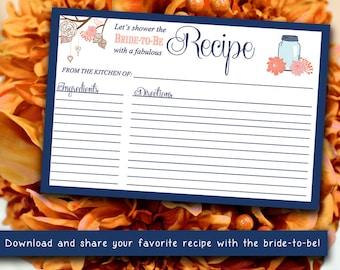 "Bridal Shower Recipe Card | 4"" x 6"" Mason Jar Recipe Card Printable | Orange Sherbet Navy Blue Shabby Chic | Wedding Bridal Shower Gift"