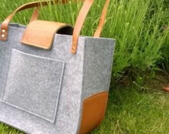 Felt and leather bag, Grey felt tote bag, Tote, Felt Tote Bag,  for shopping, handbag , genuine leather, tote bag, tote felt, shoulder