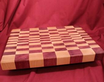 0335 Cutting Board, End Grain Maple Purpleheart