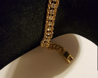 Sale Rhinestone Gold Tone Link Bracelet