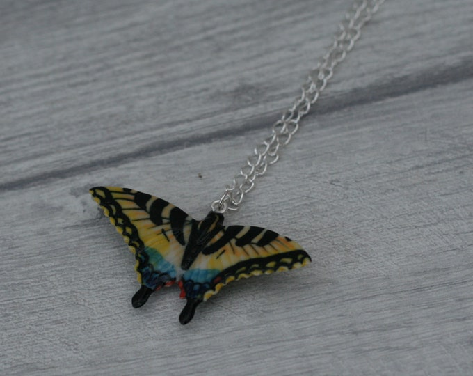 Porcelain Butterfly Necklace, Yellow Swallowtail Necklace, Animal Necklace