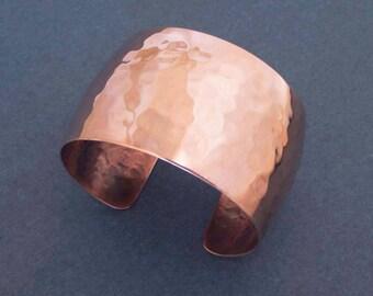 Domed Copper Cuff Bracelet Hammered Copper Textured Metal Convex Cuff Modern Jewelry Seventh Copper Anniversary 7th Anniversary Gift