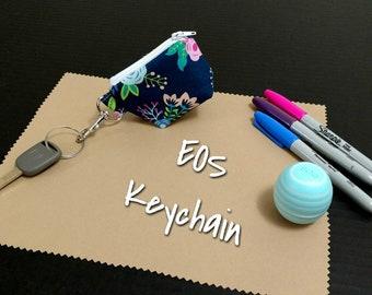 EOS Lip Balm Keychain Navy Blue Floral Print