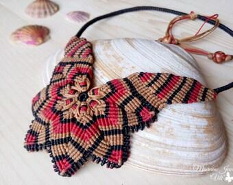 Macrame Mandala Necklace, Big Flower Necklace, Statement Necklace, Flower Necklace, Boho Necklace, Micro Macrame Necklace, Mandala Jewelry