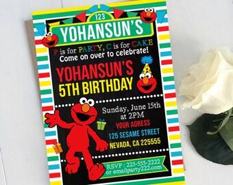 Elmo Birthday, Elmo Invitation, Elmo Birthday Invitation, Elmo Party, Elmo Birthday Party, Elmo Sesame Street Birthday Invitation Party