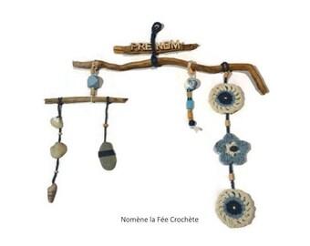 Nature, customize, mobile wall hanging Bohemian, driftwood, crochet, ecru and blue patterns, handmade, Scandinavian style.