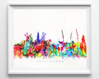 Chittagong Skyline Print, Bangladesh Print, Chittagong Poster, Watercolor Painting, Wall Art, Fathers Day Gift Decor, Fathers Day Gift