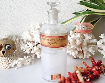 Vintage glass apothecary bottle old medicine jar with stopper Magnesium Sulphate science lab display curiosity laboratory cabinet