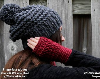 COZY FINGERLESS GLOVES, winter gloves, red knit gloves, mustard knit gloves, wrist/arm warmers, women and teens, chunky & cozy gloves