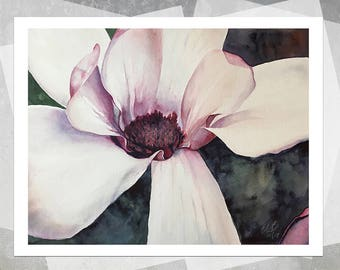 Pink Magnolia Giclee Print - Realistic Watercolor Flower, Botanical Painting, Floral, Gift, Realistic Watercolor Painting