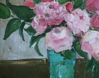 Pink Flowers, Teal Vase