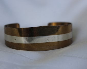 Lillian Vernon Copper Cuff Bracelet with Sterling Inlay