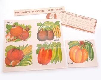 Vintage 1950's Duro Decals - Vegetable Transfer Decals