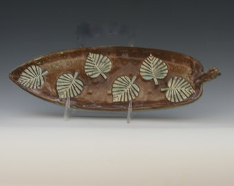 """12"""" X 4"""" Handmade Stoneware Ceramic Leaf Platter in Shades of Brown and white with hints of metallic green/Ceramics and Pottery"""