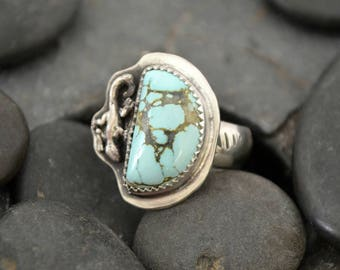 Turquoise sterling silver ring with lizard.  size 7.5 US
