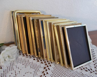Vintage Gold Metal Picture Frame 5 x 7 Photo Decoration Mid Century Hollywood Regency Rustic Shabby Chic Wedding Decoration Home Decor Gift
