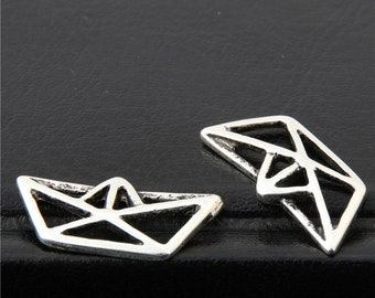 30pcs Antique Silver Origami Paper Boat Folding Art Charms Pendant A2654