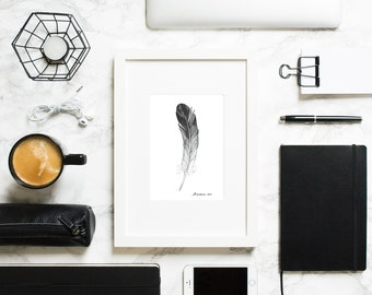 Feather Painting Origina lFeather Watercolor Black and White Drawing Feather Art Feather Wall Art Feather Wall Decor Feather Artwork
