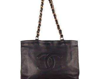 Authentic CHANEL Vintage Black Leather Logo Gold Chunky Chain Large Shopping Bag